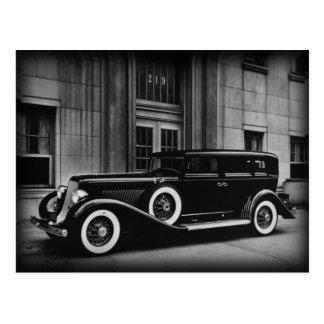 Den svartvita vintage car fotograferar vykort