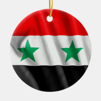 Den Syrien flagga cirklar prydnaden Rund Julgransprydnad I Keramik