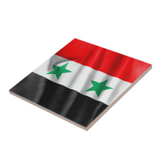 Den Syrien flagga kvadrerar belägger med tegel Liten Kakelplatta
