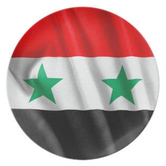 Den Syrien flaggamelaminen pläterar Tallrik