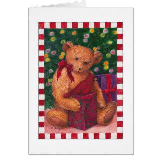 den teddybear julen tackar dig presenter hälsningskort