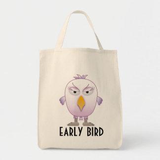 Den tidiga fågeln får de bäst avtalen - lilor och mat tygkasse