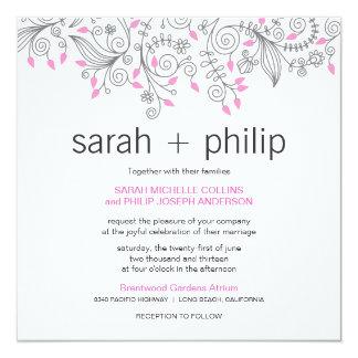 Den tillfälliga blommigtfinare virvlar runt personliga inbjudningskort