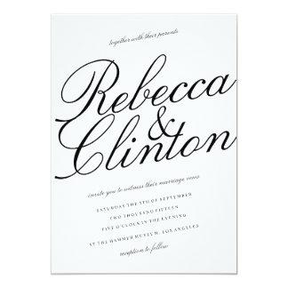 Den tillfälliga eleganssvarten skrivar vitbröllop 12,7 x 17,8 cm inbjudningskort