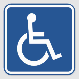Den tillgängliga handikappade rullstolen fyrkantigt klistermärke