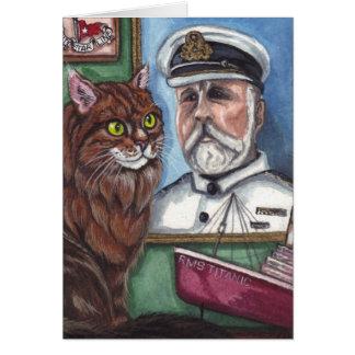 Den Titanic MAINE COONKATTEN noterar kortet Hälsningskort