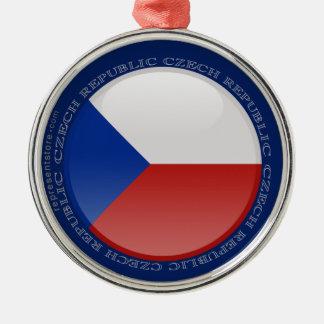 Den tjeckiska republiken bubblar flagga rund silverfärgad julgransprydnad