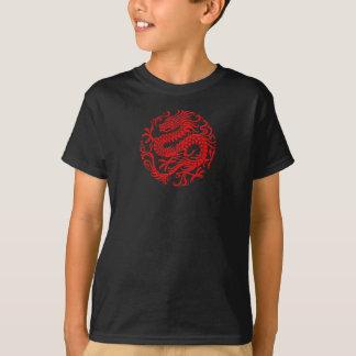 Den traditionella röda kinesiska draken cirklar t shirts