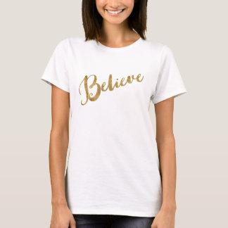 Den tro guld- looken skrivar t shirts