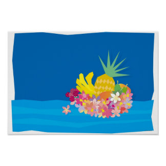Den tropiska blomman vinkar poster