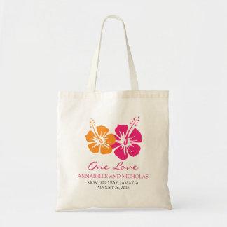 Den tropiska hibiskusen blommar bröllopgästen budget tygkasse