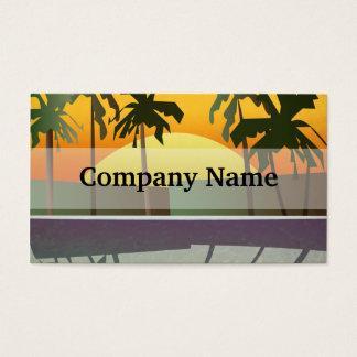 Den tropiska solnedgången landskap, palmträd visitkort