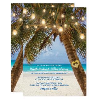 Den tropiska stranden och stränger att gifta sig 12,7 x 17,8 cm inbjudningskort