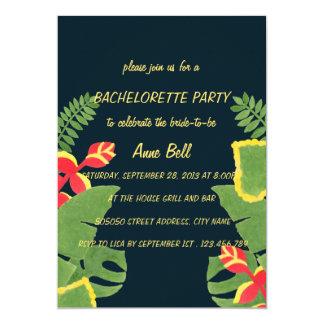 Den tropiska trädgårds- Bachelorette partyinbjudan 12,7 X 17,8 Cm Inbjudningskort