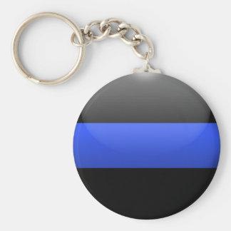 Den tunna blålinjen knäppas rund nyckelring