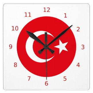 Den turkiska flaggaväggen tar tid på fyrkantig klocka