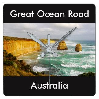 Den underbara havvägen Australien kvadrerar väggen Fyrkantig Klocka