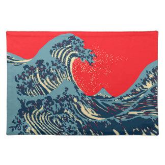 Den underbara Hokusaien vinkar i vibrerande stil Bordstablett