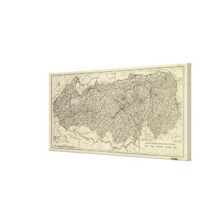 Den underbara rökiga bergnationalparkkartan (1935) canvastryck