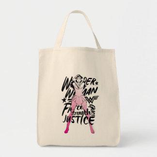 Den undra kvinnan borstar typografikonst tygkasse