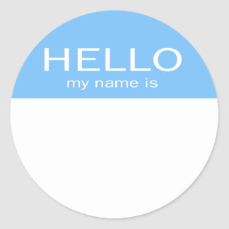 Den unika hejen mitt namn är - baby blue runt klistermärke