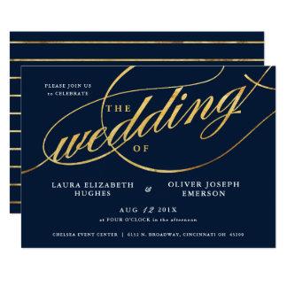 Den unikt modernt marinen & guld skrivar bröllop 12,7 x 17,8 cm inbjudningskort