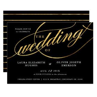 Den unikt modernt svarten & guld skrivar bröllop 12,7 x 17,8 cm inbjudningskort