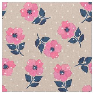 Den ursnygga rosan blommar polka dotsmönster tyg