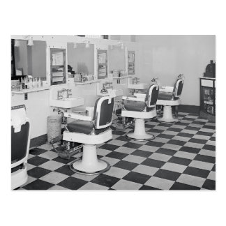 Den utöva barberaren shoppar, 1935 vykort