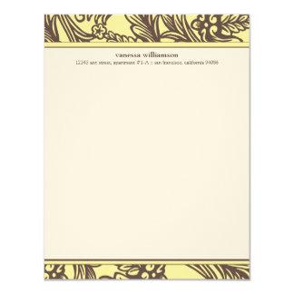 Den utsmyckade blom- anpassningsbarlägenheten individuella inbjudningskort