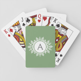 Den utsmyckade vitsnowflaken cirklar Monogramvis Casinokort