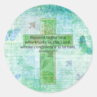 Den välsignade Jeremiah 17:7 är kor för Runt Klistermärke