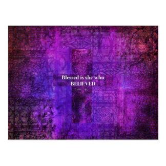 Den välsignade Luke 1:45 är henne som trodde Vykort