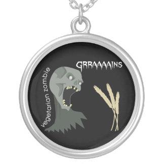 Den vegetariska zombien önskar Graaaains! Halsband Med Rund Hängsmycke