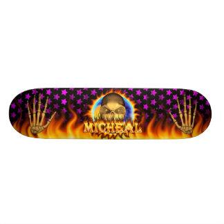 Den verkliga Micheal skallen avfyrar och flammar Skateboard Bräda 20,5 Cm