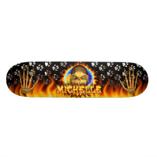 Den verkliga Michelle skallen avfyrar och flammar Skateboard Bräda 21,5 Cm