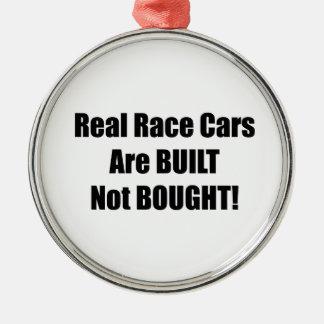 Den verkliga tävlingbilen byggas inte köpt julgransprydnad metall