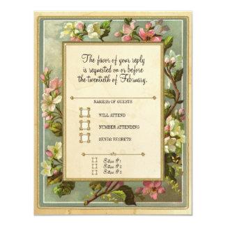 Den vintageApple blommar, Tea befläckte typografi 10,8 X 14 Cm Inbjudningskort