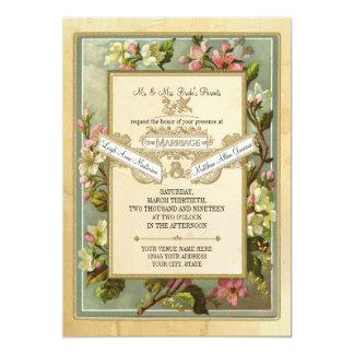 Den vintageApple blommar, Tea befläckte typografi 12,7 X 17,8 Cm Inbjudningskort