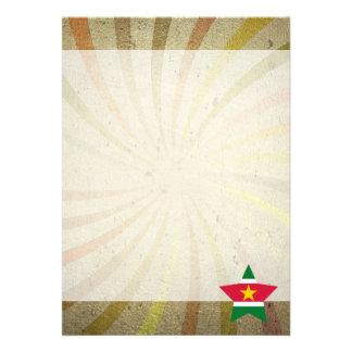 Den vintageSurinamer flagga virvlar runt 12,7 X 17,8 Cm Inbjudningskort