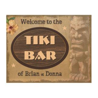 Den vintageTiki puben undertecknar med dina namn Trätavla