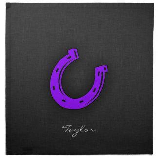 Den violetta purpurfärgade hästen skor tygservett