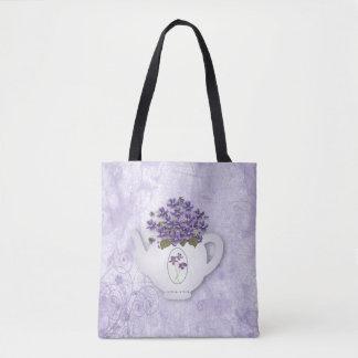 Den violetta tekannan All över trycktoto hänger Tygkasse