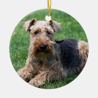 Den walesiska terrierhundanpassningsbar älskar jag julgransprydnad keramik