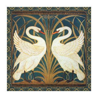 Den Walter kransvanen, rusar och Iris art nouveau Canvastryck
