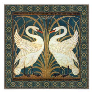Den Walter kransvanen, rusar och Iris art nouveau Fototryck
