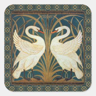 Den Walter kransvanen, rusar och Iris art nouveau Fyrkantigt Klistermärke