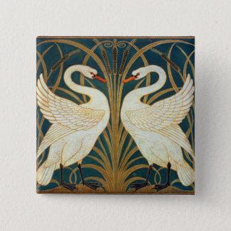 Den Walter kransvanen, rusar och Iris art nouveau Standard Kanpp Fyrkantig 5.1 Cm