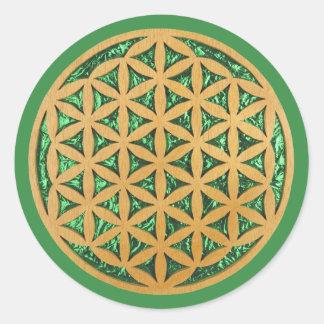 Den Wood snida rullan sågar konst av blomman av Runt Klistermärke