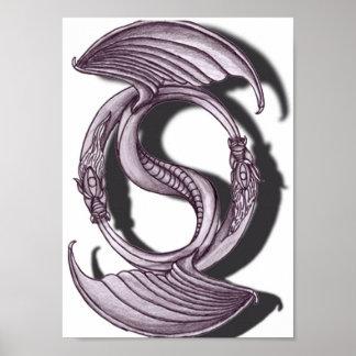 Den Yin Yang draken ritar Poster